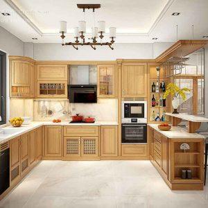 tủ bếp gỗ gõ đỏ Thủ Đức