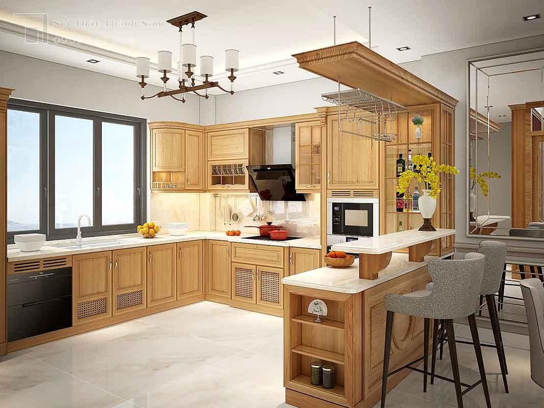 thiết kế nội thất gõ đỏ tủ bếp gỗ gõ đỏ Thủ Đức