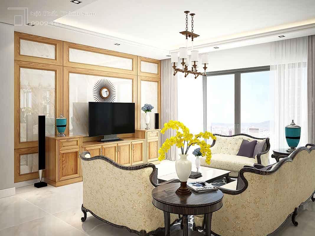 thiết kế nội thất gõ đỏ phòng khách Thủ Đức