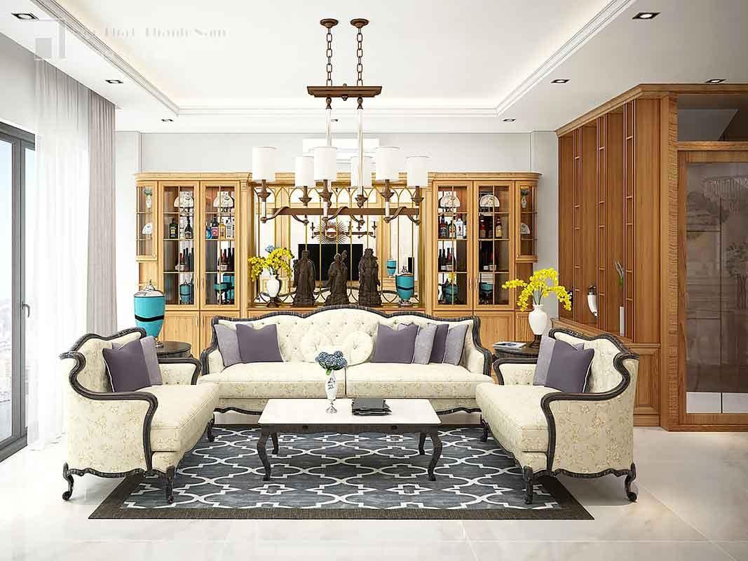 thiết kế nội thất gõ đỏ phòng khách gỗ gõ đỏ Thủ Đức